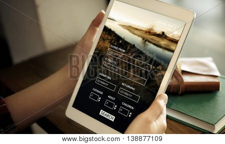 Tablet Searching Flight Travel Booking Concept
