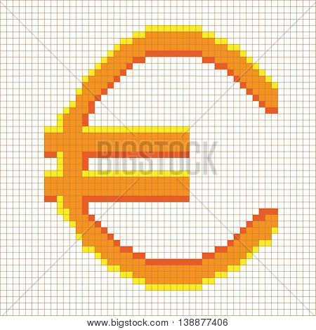 Sign pixel euro gold in grid. Colorful icon isolated on white lattice background. Pixelated design. Logo for business. Europe finance symbol made of pixels. Mark of commerce. Stock vector illustration