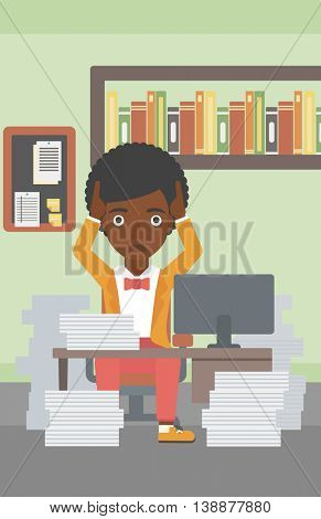 An african-american business woman in despair sitting at workplace with heaps of papers and clutching her head. Vector flat design illustration. Vertical layout.
