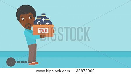 Chained to a large ball an african-american businessman carrying heavy box with bags full of taxes. Vector flat design illustration. Horizontal layout.
