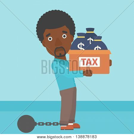 Chained to a large ball an african-american businessman carrying heavy box with bags full of taxes. Vector flat design illustration. Square layout.