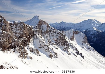 High Mountain In Austrian Alps In Winter