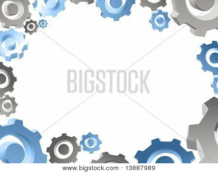 Gears White Background Border