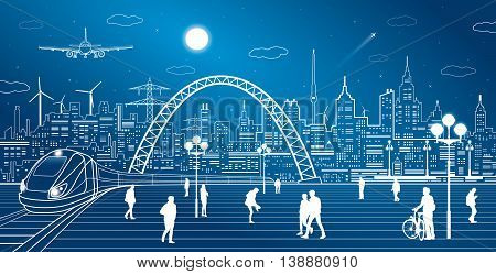 Train move, railway station. Town Square, people walk. Industrial and transport illustration, city infrastructure on background and bridge, airplane fly, vector design art