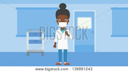 An african-american female ear nose throat doctor in mask holding tools used for examination while standing in the medical office. Vector flat design illustration. Horizontal layout.