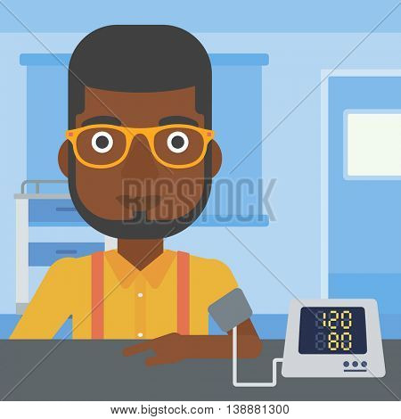 An african-american man taking care of his health and checking his blood pressure with digital meter. Vector flat design illustration. Square layout.
