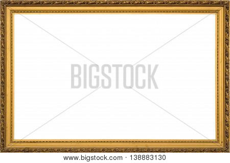 Antique Golden Wooden Frame Isolated On White Background