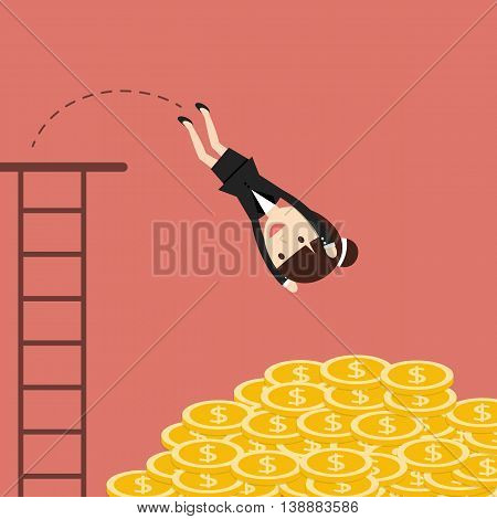 Business situation. Businesswoman jumping in a pile of coins. Symbol of wealth and big profits. Vector illustration.