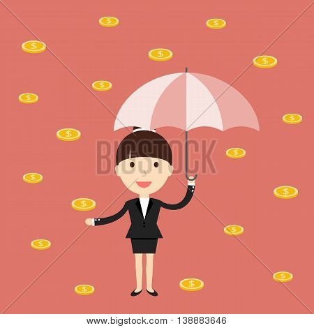 Business situation. Businesswoman with an umbrella under the golden rain. The symbol of high profits and a successful business. Vector illustration.