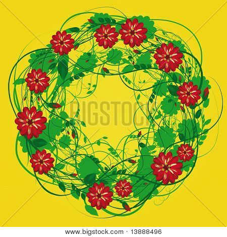 A Wreath Of Flowers And Grass