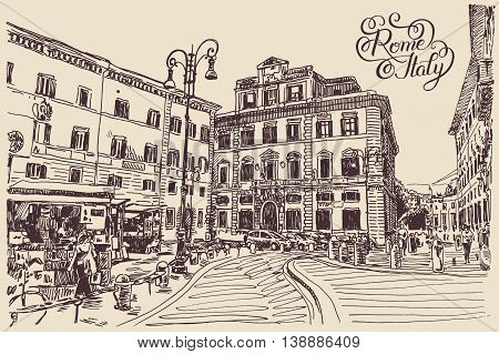 original sketch hand drawing of Rome Italy famous cityscape with hand lettering inscription, travel card, vector illustration