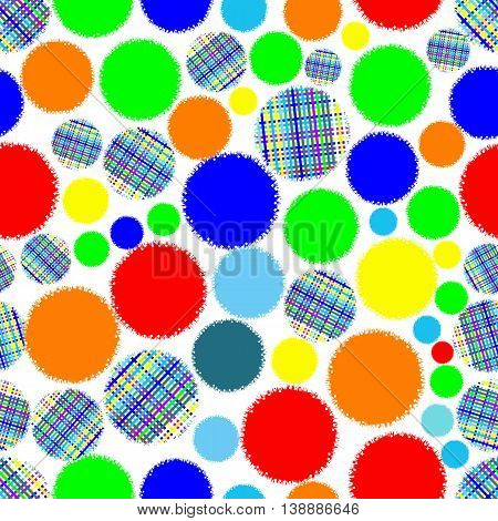 Bright rainbow seamless pattern of circles-vector illustration. Ornament eye gouge.