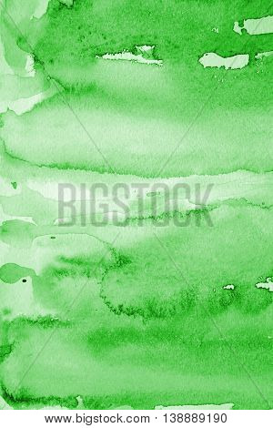 Abstract watercolor background with green layers on paper texture