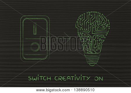 Idea Lightbulb Made Of Electronic Circuits With Switch On