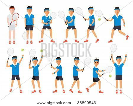 Tennis sport athletes players playing training and practicing with tennis racket. Flat design people characters.