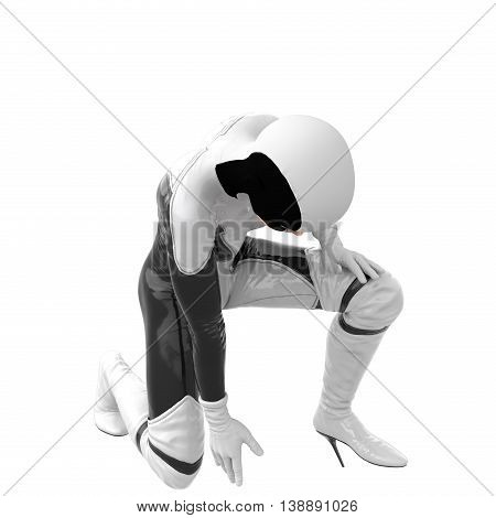 one teenage girl in a white dark super suit. Bent on one knee in the affected species. 3D rendering, 3D illustration