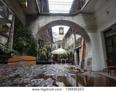 Cozy Street In Kazimierz, Krakow, Where Schindler's List By Spielberg Was Shoot