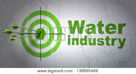 Success Manufacuring concept: arrows hitting the center of target, Green Water Industry on wall background, 3D rendering
