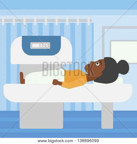 An african-american woman undergoes an open magnetic resonance imaging scan procedure in hospital rooom. Vector flat design illustration. Square layout.