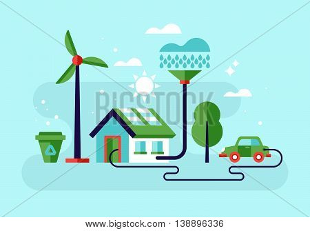 Ecology concept with eco friendy house and green energy. Modern stylish flat vector illustration
