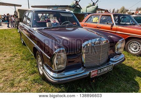 Kyiv Ukraine - April 26 2015: 1958 Mercedes-Benz 280 S owned by former Soviet leader Leonid Brezhnev is on display at the festival