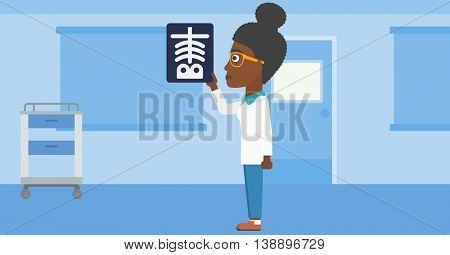 An african-american young female doctor looking at a skeleton radiograph in the medical office. Vector flat design illustration. Horizontal layout.