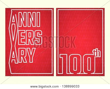 Vector Illustration of Anniversary 100th Outline for Design, Website, Background, Banner. Jubilee silhouette Element Template for festive greeting card. Shiny gold Confetti celebration