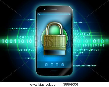 Smartphone with padlock over a data stream. 3D illustration.