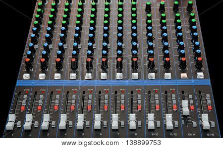 Audio Mixing Console With Faders
