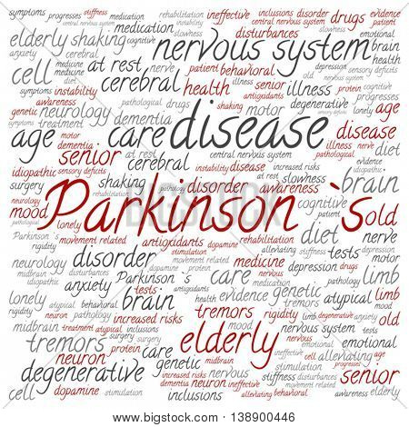 Vector concept conceptual Parkinson`s disease healthcare or nervous system disorder square word cloud isolated on background, metaphor to healthcare, illness, degenerative, genetic, symptom or brain