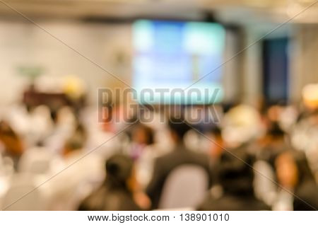 Abstract Blurred People In Press Conference Room, Business Concept, Scientific Business Conference