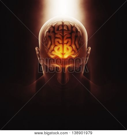 3D render of a medical image of a male figure with brain highlighted and dramatic highlighted