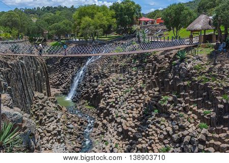 Beautiful waterfall in the basaltic prisms in Mexico, Hidalgo
