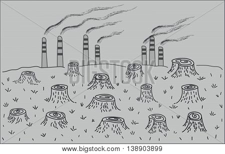 Deforestation and environmental pollution. Environmental disaster. black and white graphic vector image