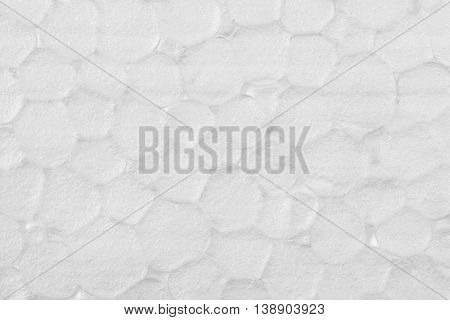 White extruded polystyrene foam texture background, close up