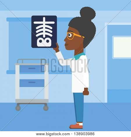 An african-american young female doctor looking at a skeleton radiograph in the medical office. Vector flat design illustration. Square layout.