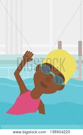 An african-american sportswoman wearing cap and glasses swimming in pool. Professional female swimmer in swimming pool. Vector flat design illustration. Vertical layout.