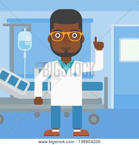 An african-american doctor in medical gown showing finger up while standing on the background of hospital ward. Vector flat design illustration. Square layout.