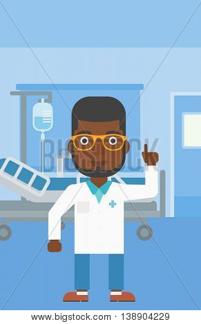 An african-american doctor in medical gown showing finger up while standing on the background of hospital ward. Vector flat design illustration. Vertical layout.