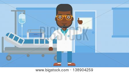 An african-american doctor in medical gown showing finger up while standing on the background of hospital ward. Vector flat design illustration. Horizontal layout.