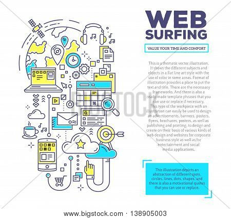 Vector creative concept illustration of web surfing with header and text on white background. Web surfing composition template. Hand draw flat thin line art style monochrome design blue and yellow colors for web surfing theme