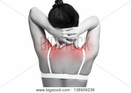 Young caucasian woman in bra with pain in shoulders and neck ache in the human body isolated on white background with red dots