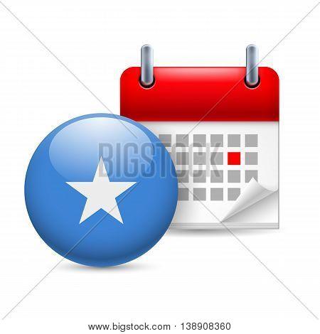 Calendar and round Somalian flag icon. National holiday in Somalia. Vector.