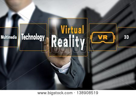 virtual reality touchscreen concept background tech picture