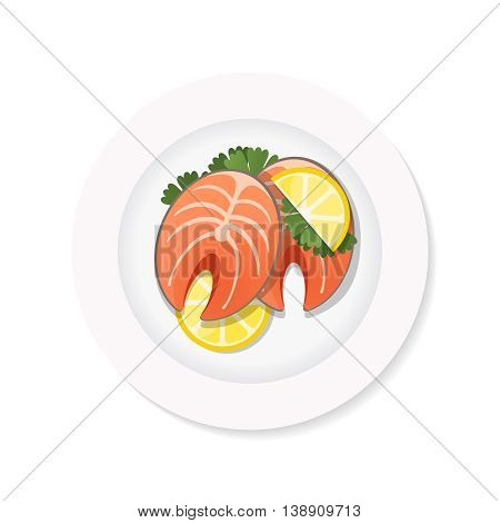 salmon steak with lemon on a white plate. Top view stock vector dish on white background