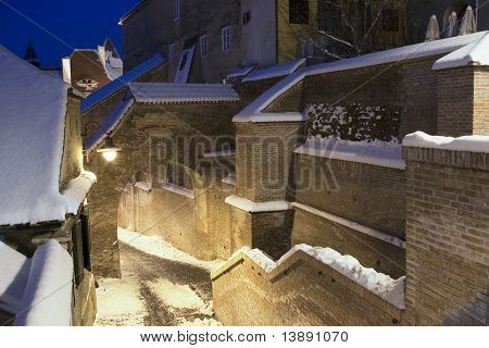 Medieval Town Sibiu In Winter With Snow At Dusk Wall Structure