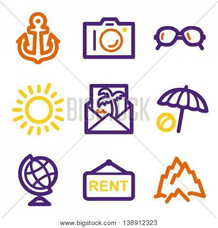 Vacation and transport vector mobile icons, tour infographics symbols.