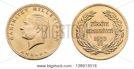 Front and back view of Turkish gold coin called Besli Ata isolated on white background.
