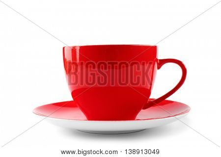 Red cup of coffee and saucer on white background