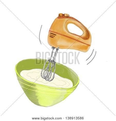 Watercolor illustration mixer and meal isolated on white background